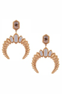 Crystal stud inverted 'C' earrings