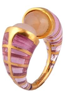 Rose quartz statement ring