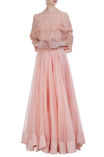 Organza lehenga with tube blouse & off-shoulder pearl embroidered cape