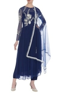 Net sequin embroidered anarkali set