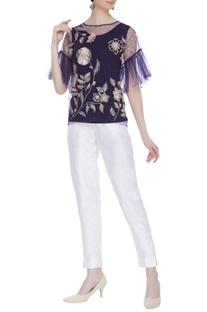 Net sheer ruffle sleeve blouse with inner