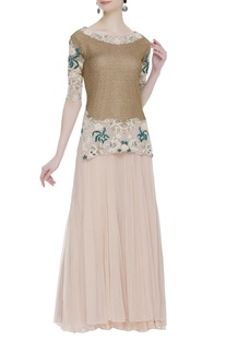 Pearl dori embroidered blouse with lehenga skirt