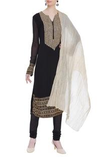 Bead & mirror work embroidered kurta set