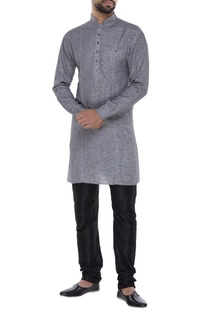 Dual color textured swiss cotton kurta set