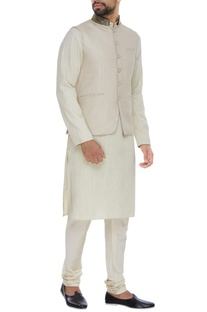 Jute silk nehru jacket set