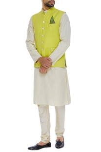 Matka silk nehru jacket set