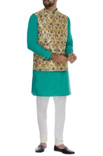 Printed brocade nehru jacket