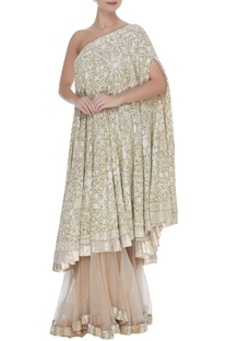 f4c44af14bebc Manish Malhotra Sequin   kashmiri embellished one shoulder kurta with  sharara pants   3