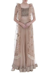 Sequin Embroidered Ruffle Cape with blouse & sharara