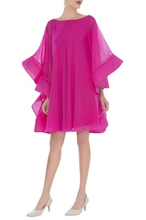 Trapeze dress with flared sleeves