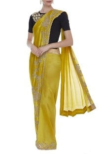 Pearl Hand Embroidered pre draped Sari With Blouse