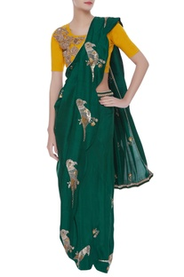 Hand Embroidered Pre-Draped Sari With Blouse & pants