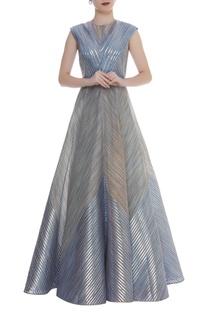 Metallic stripe embroidered gown