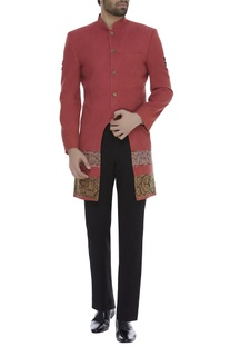 Thead embroidered cut-out sherwani