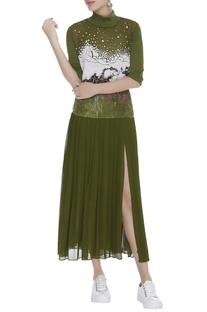 Embroidered high slit dress