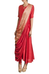Full length kurta with attached drape