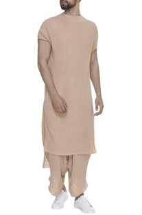 Asymmetric short sleeve kurta