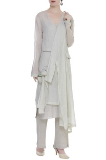 Asymmetric Tie Up Long Jacket