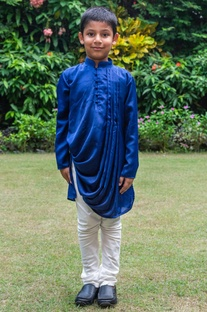 Cowl draped kurta with white churidar