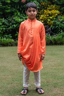 Draped cowl kurta with white churidar