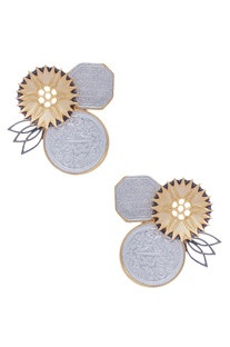 Flower & Coin Stud Earrings