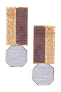Medallion Scripted Stud Earrings