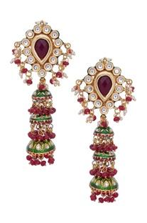 Layered kundan jhumka earrings