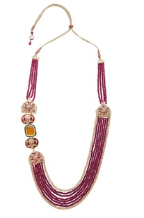 Meenakari necklace with layered bead string