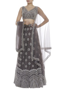 Blouse With Embroidered Lehenga & Dupatta