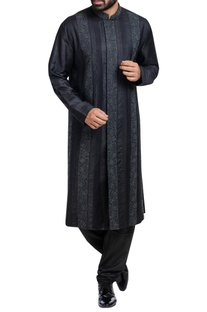 Embroidered panel sherwani set