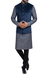 Self printed jacket kurta set
