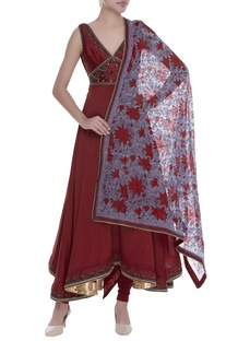 Anarkali kurta with churidar and floral printed dupatta