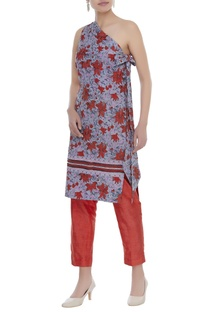 On shoulder floral printed tunic with pants