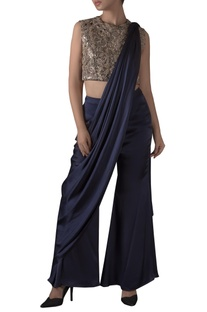Leather Patch Embroidered Draped Pant sari