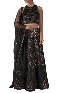 Cutout Leather Embroidered Blouse & Lehenga Set
