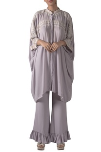 Floral Embroidered Kaftan Tunic With Pants