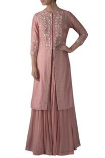 Front Slit Embroidered Kurta With Sharara