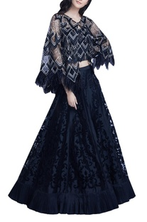 Feather Embellished Cape With Tube Top