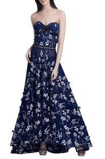 Floral embroidered Strapless Gown