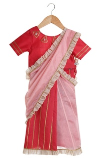 Pre Draped Saree With Tie Up Blouse