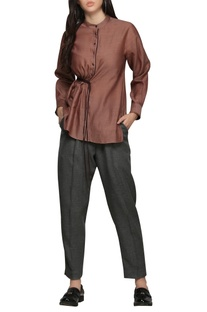 ruched shirt top with button placket