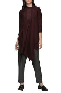 Embroidered yoke asymmetric top
