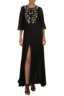 Hand embroidered front slit maxi dress