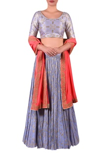 Embroidered blouse with lehenga & zari work dupatta