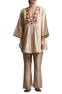 Tunic with Overlap Embroidered Yoke