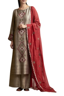 Kurta Palazzo Set with Cross...