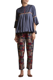 Flared Top with Embroidered Pants