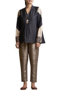 Overlap Tunic with Embroidered Cuffs