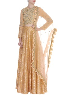 Zari Embroidered Blouse With lehenga & Dupatta