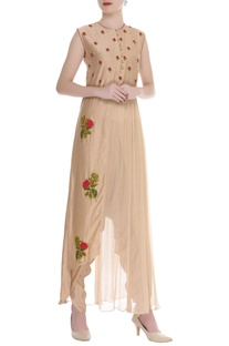 Hand Embroidered Kurta With Dhoti Pants